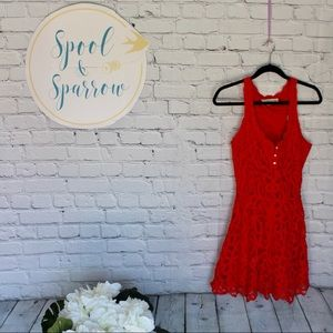 Abercrombie & Fitch Red Lace Button Front Dress